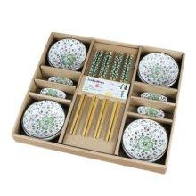 Wedding Business Gift Home Flatware Set Chopsticks/Holder/Dish 12PCS-Green