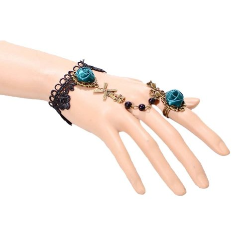 Complex Gulei Si Crystal Gemstone Bracelet Ring Jewelry, Green Rose