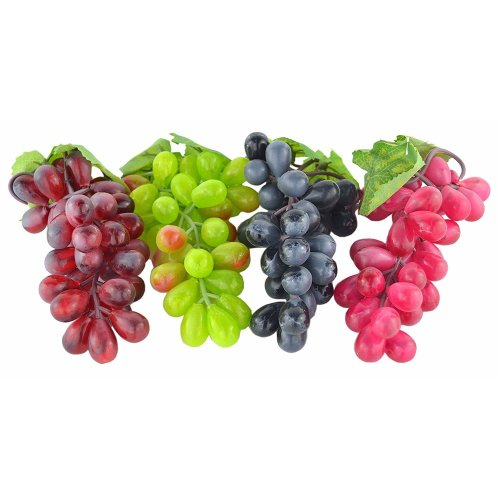 4 Bunches of Artificial Black ,Red, Green and Purple Grapes Fake Fruit Home House Kitchen Party Wedding Decoration Photography