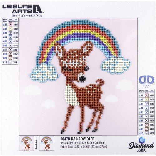 """Leisure Arts Sparkle Art Diamond Paint Kit 10.63""""X10.63""""-Rainbow Deer"""