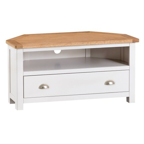 Portland White Painted Oak Corner TV Unit