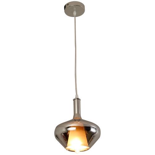 HOMCOM Glass Modern Pendant Lamp Ceiling Light Droplight Round Shade -Silver