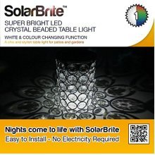 Solar Brite Deluxe Solar Crystal Table Beaded Light with White & Colour Changing Function Free to Run