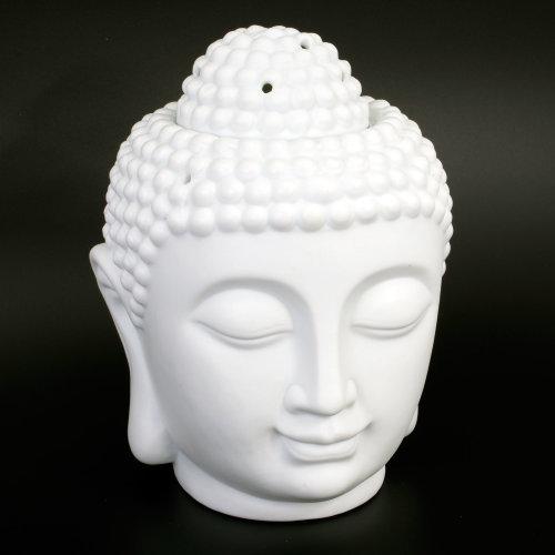 Buddha Oil Burner White 20cm High Extra Large Ceramic Thai Buddha Head