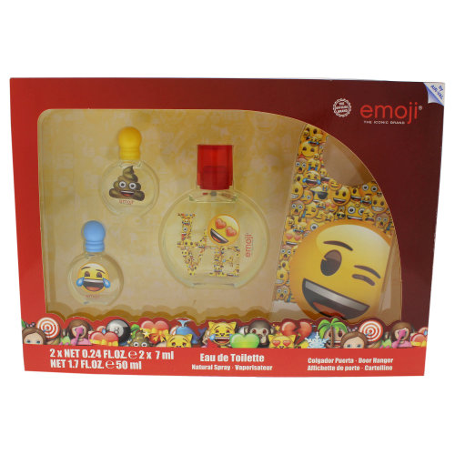 Air-Val International Emoji - 4 Pc Gift Set 1.7oz EDT Spray, 0.24oz EDT Splash (Mini), 0.24oz EDT Splash (Mini), Door Hanger