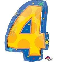 Confetti Dots Number 4 Junior Shape Foil Balloons 14/35cm W x 20/50cm H S60 -