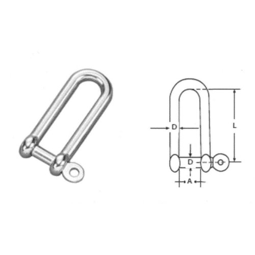 8mm STAINLESS STEEL 316 (A4) Long D shackle