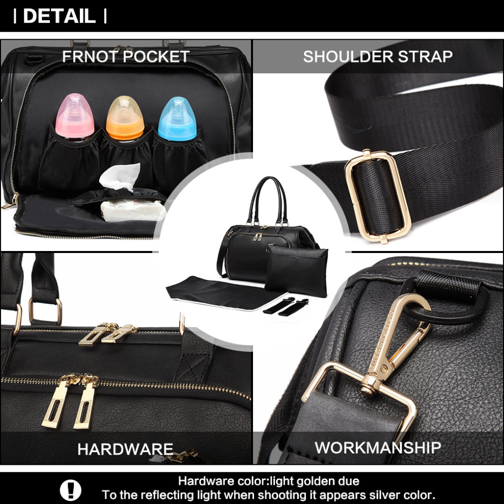 ee8ff3dd23dcc ... Miss Lulu 3 Pieces Baby Nappy Diaper Changing Bag PU Leather Black - 5  ...