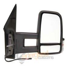 Mercedes Sprinter Van 2006- Manual Black Long Arm Wing Door Mirror Drivers Side