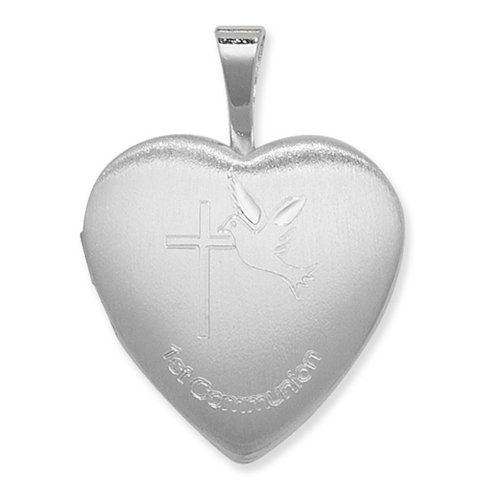 Childrens Sterling Silver 1st Communion Heart Locket On A Curb Necklace