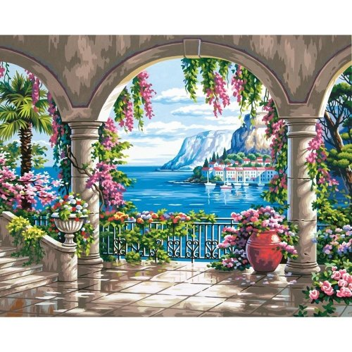"Dpw91452 - Paintsworks Paint by Numbers 20"" X 16"" - Floral Patio"