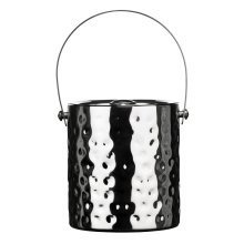 Ice Bucket with Lid - Hammered Stainless Steel
