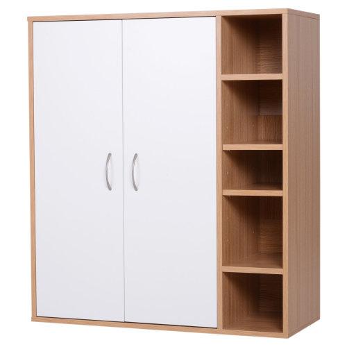 Homcom Free Standing Wooden Storage Cabinet Living Room Entryway Organiser Closet Adjule Shelf