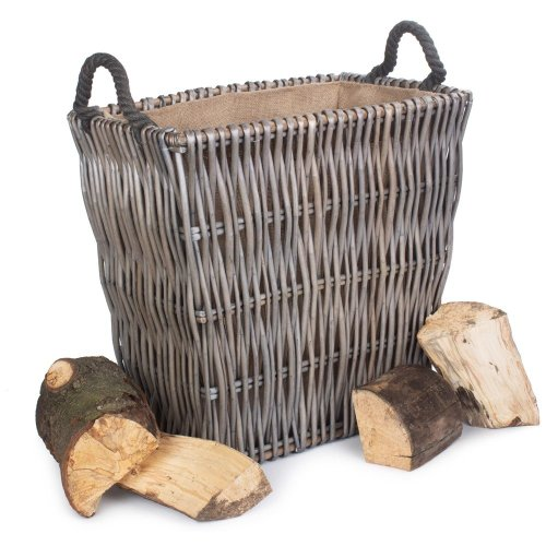 Large Grey Rectangular Wicker Log Basket