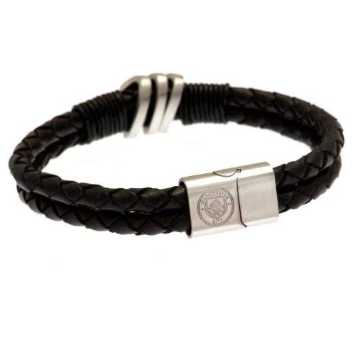 Manchester City FC Double Plait Leather Boxed Bracelet