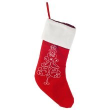 Traditional Red Christmas Stocking with Embroidered Design