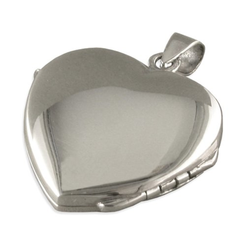 Childrens Sterling Silver Plain Heart Locket On A Curb Necklace