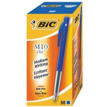 BIC M10 clic Clip-on retractable ballpoint pen Medium Blue 50pc(s)