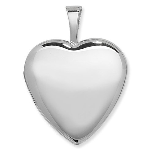 Childrens Sterling Silver One Side Polished Plain Heart Locket On A Curb Necklace