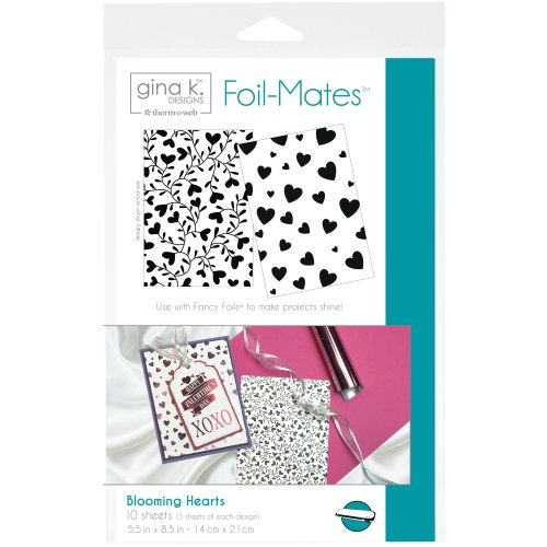 "Gina K Designs Foil-Mates Background 5.5""X8.5"" 10/Pkg-Blooming Hearts, 2 Designs/5 Each"