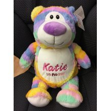 Pastel Teddy Bear - Personalised With Message, Name or Birth Date