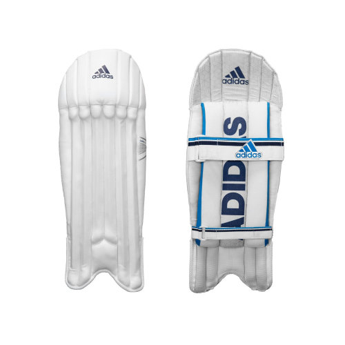 adidas Libro 2.0 Kids Cricket Wicket Keeper Pads Leg Guards White/Blue