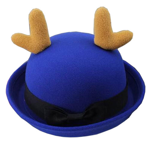 Lovely Baby Woolen Bowler Hat Bucket Hat for Children Antlers Navy