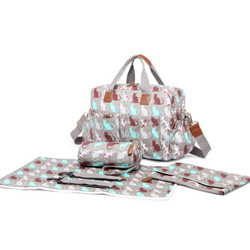 Miss Lulu 4pcs Baby Nappy Diaper Changing Bag Set Cat Print