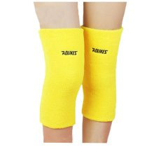 A pair of Cotton Knee Support Sleeves Brace Pads for Sports/Recovery - Yellow