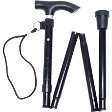 Life Healthcare Walking Stick - Black -  black adjustable folding walking stick carry strap