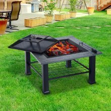 Outsunny Outdoor Garden 3 in 1 Metal Square Fire Pit