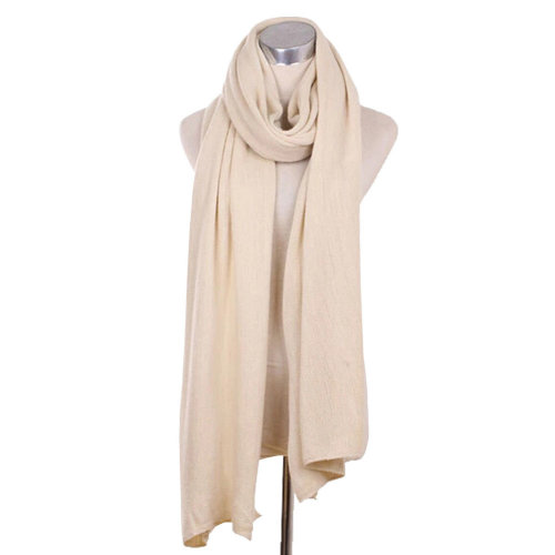 Lady's Stylish Pure Colour Scarf Luxurious Pashmina Scarf Knitted scarf Beige