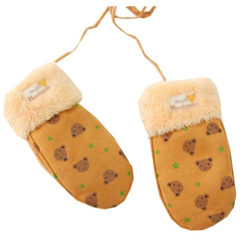 Warm Velvet Gloves Children Winter Thicken Orange Mittens (4-8 Years)