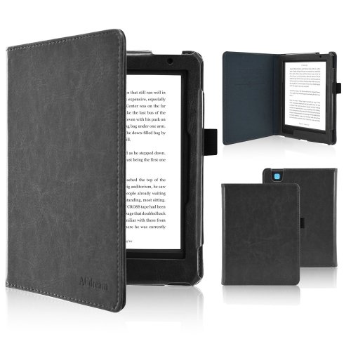 Fskying Kobo Aura Edition 2 Case, Premium Leather Ereader Cover Case with Auto Sleep/Wake for Kobo Aura Edition 2, Black