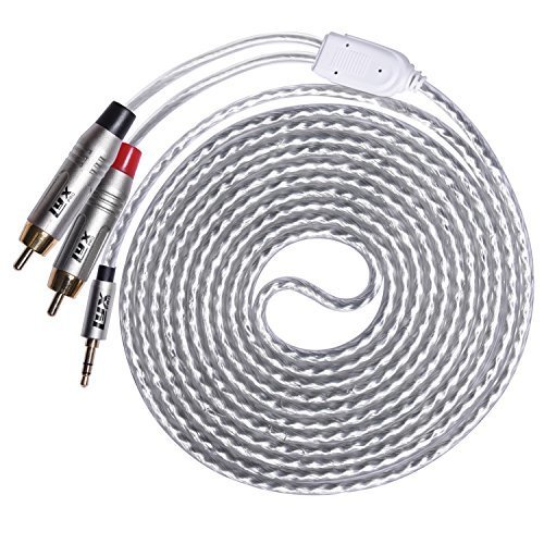 LyxPro Y Cable Aux to RCA Male 3 5mm Male to Dual RCA Male Stereo Audio Y Splitter Adapter Cable 10 Feet