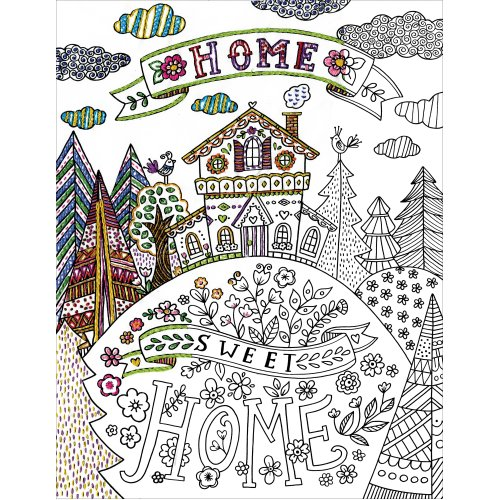 """Design Works/Zenbroidery Stamped Embroidery Kit 14""""X18""""-Home Sweet Home"""