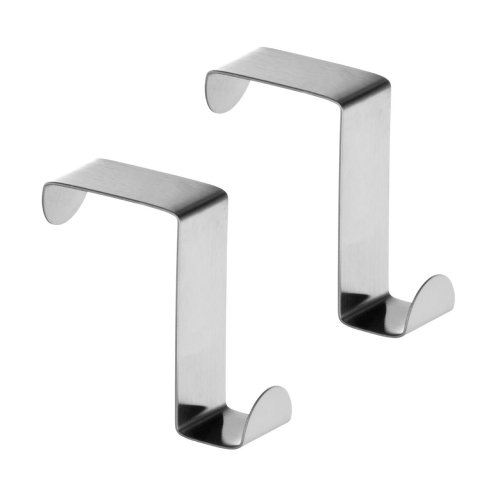 Over Cupboard and Drawer Hooks, Stainless Steel - Set of 2