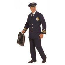 Pilot Costume Heavy Fab (m) (jacket Pants Hat) - Deluxe Officers Uniform Fancy -  deluxe pilot officers uniform fancy dress costume