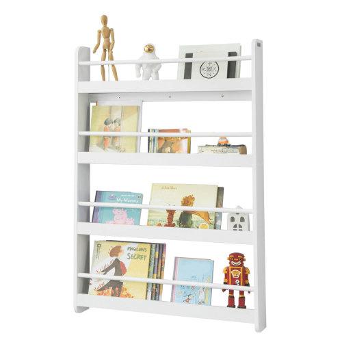 SoBuy® KMB08-W, Wall Mounted 4 Tiers Children Bookcase Storage Shelf