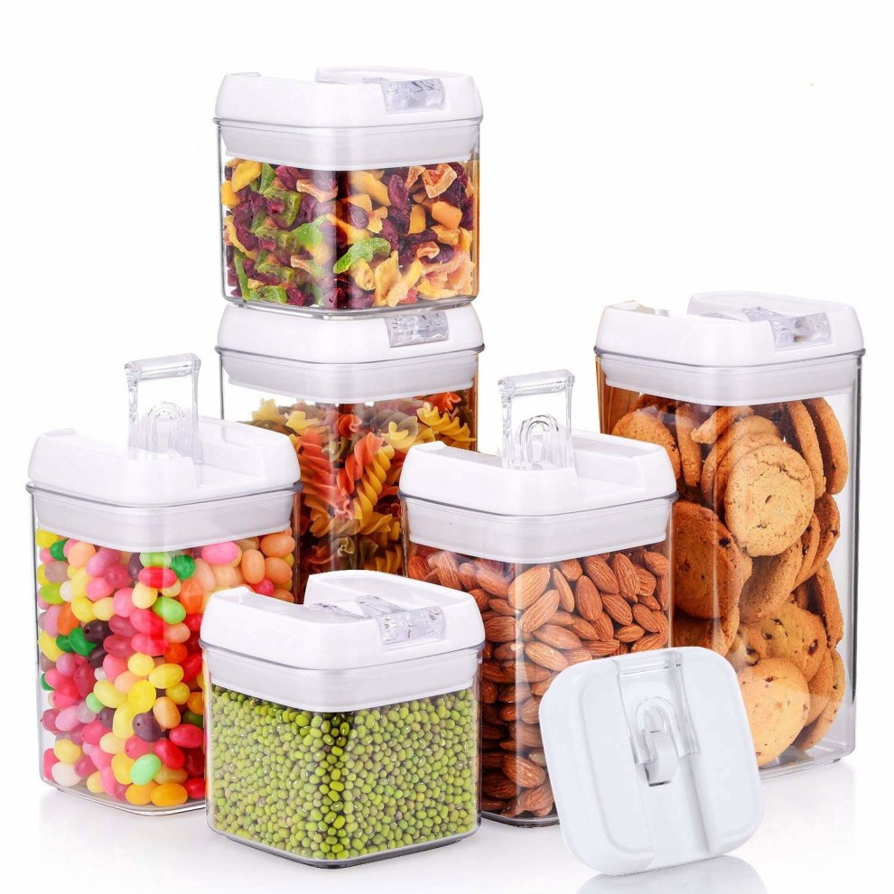 0ad02cb5df6c Food Storage Container with Lids Airtight Cereal Sealed Plastic Container  Durable Transparent Keep Dry Fresh 6 Piece Set