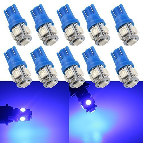 Grandview 10-Pack T10 501 LED Bulbs W5W 194 168 Blue 5-SMD 5050 LED Car Interior,Dashboard,Number Plate,Sidelights Boot Light Bulbs (12 V)