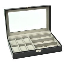 Storage Box for Watch & Eyeglasses Display Leather Case-Black