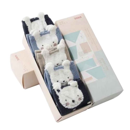 Set of 5 Cotton Cute Middle Tube Socks with Box [A]