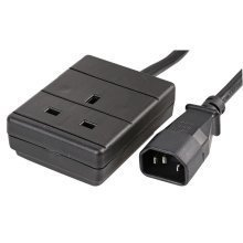 Mains IEC C14 Plug To UK 3 Pin Trailing Socket 0.5m