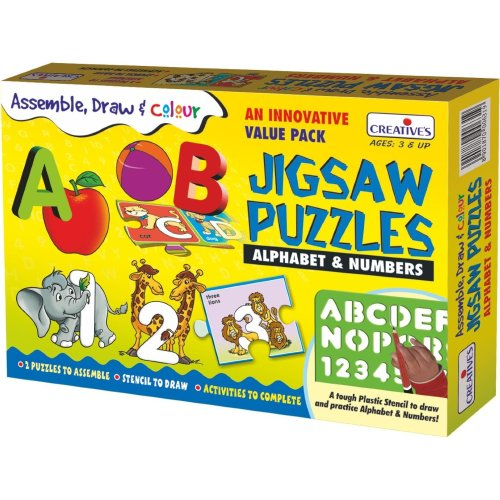 Assemble & Draw Alphabet & Numbers Puzzle - Cre1031 Creative Puzzles -  cre1031 creative puzzles assemble draw alphabet numbers