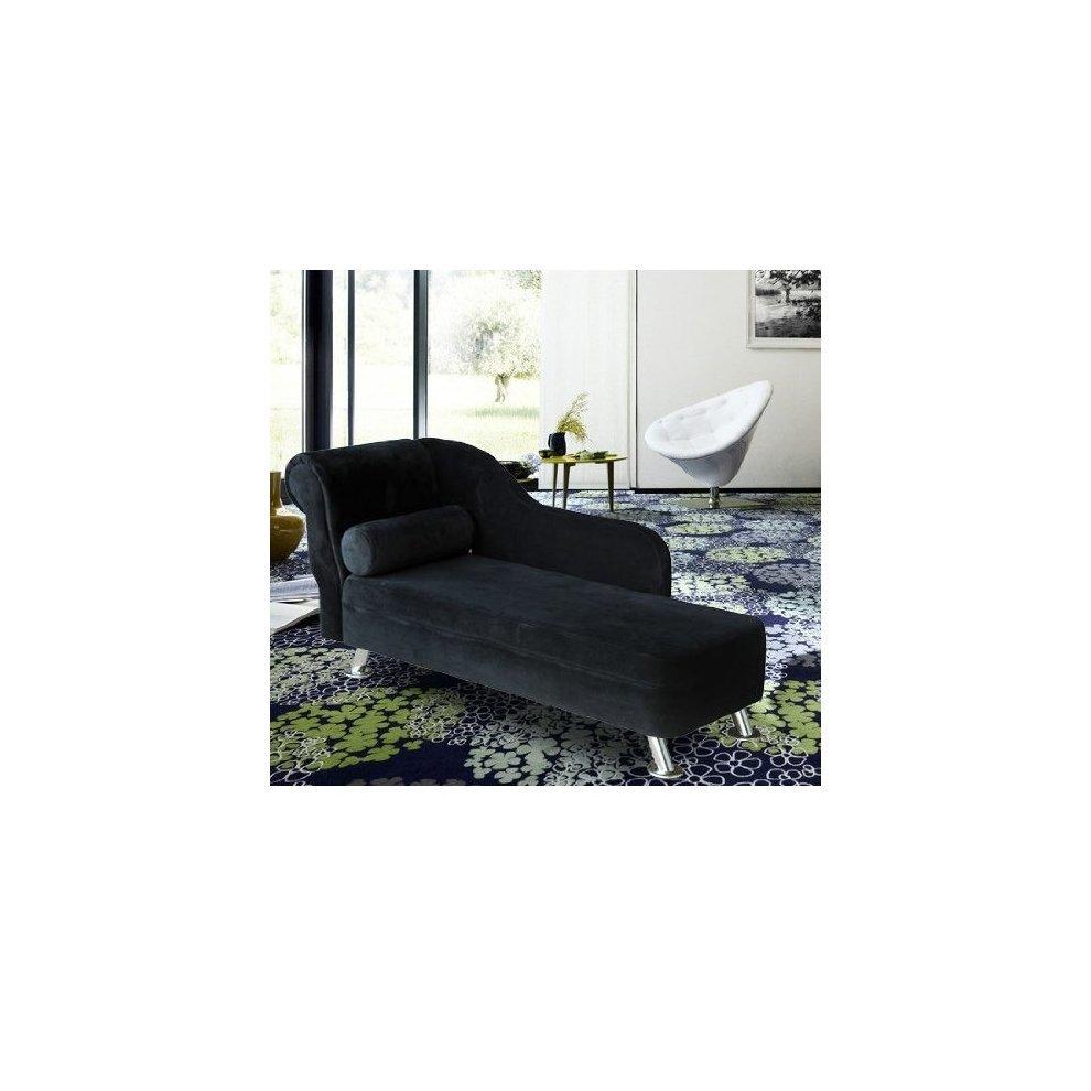 Homcom black velvet chaise longue sofa bolster cushion for Chaise longue sofa bed reviews