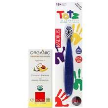 Radius Toddler Oral Care Bundle: (1) Organic Coconut Banana Toothpaste, 1.7 Ounces, and (1) 18+ Months Toothbrush (Color varies)