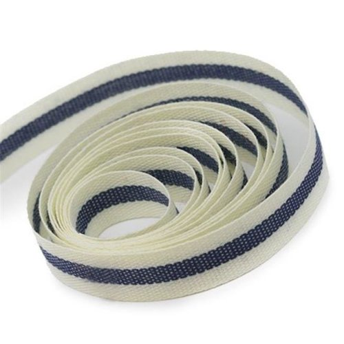 0.62 in. 50 Yards Natural Tape Ribbon, Ivory & Light Navy