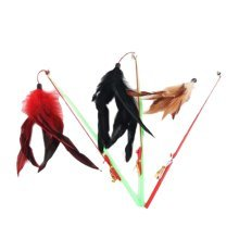 4 Sets Of Cat Toy Fake Artificial Fur Ball Funny Cat Stick Lever, Fishing Rods
