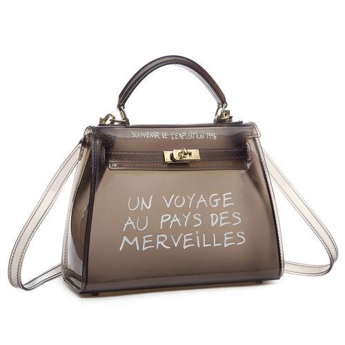 Miss Lulu Women Clear Transparent PVC Shoulder Bag Handbag Solid Candy Color Jelly Bag Black